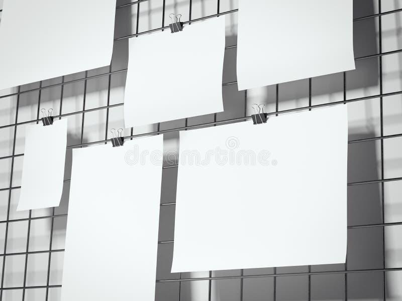 Feuilles de papier accrochant sur le panneau de fil rendu 3d illustration libre de droits