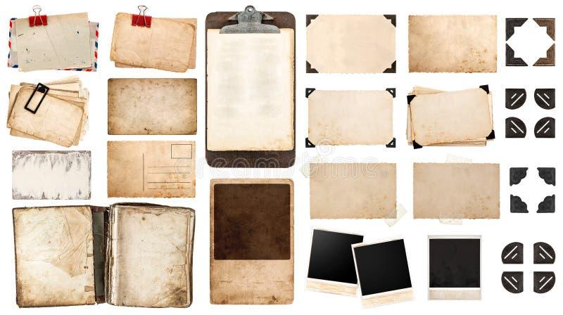 Feuilles de papier de vintage, livre, vieux cadres de photo et coins, antiqu photographie stock libre de droits