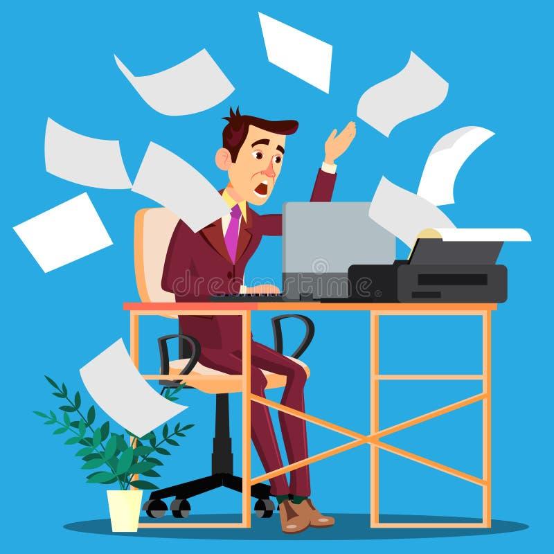 Feuilles de papier de l'imprimante Scattering Around And sur le directeur effrayé Vector Illustration d'isolement illustration de vecteur