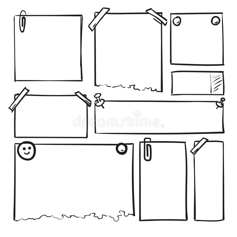 Feuilles de papier tirées par la main Place de vecteur de bande dessinée et frontières rondes Formes d'effet de crayon illustration de vecteur
