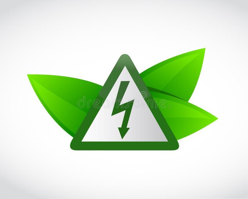 feuilles de symbole et de vert de l'électricité illustration stock
