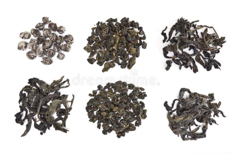 Feuilles de thé assorties d'Oolong image libre de droits