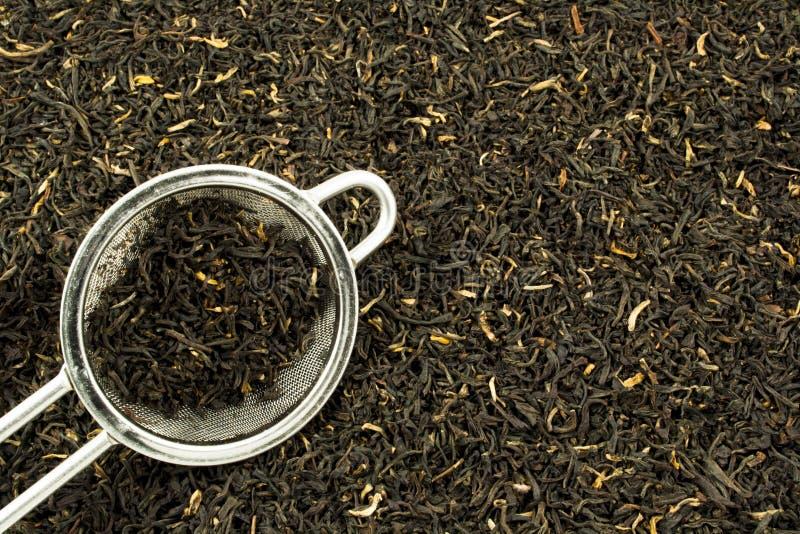Feuilles de thé avec le tamis photographie stock