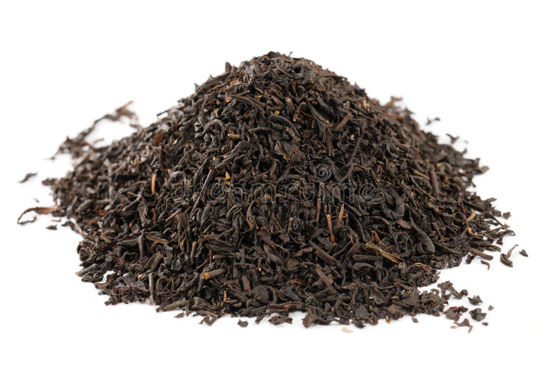 Feuilles de thé desserrées noires grises de comte images libres de droits
