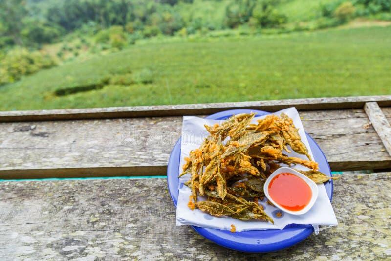 Feuilles de thé frites image stock