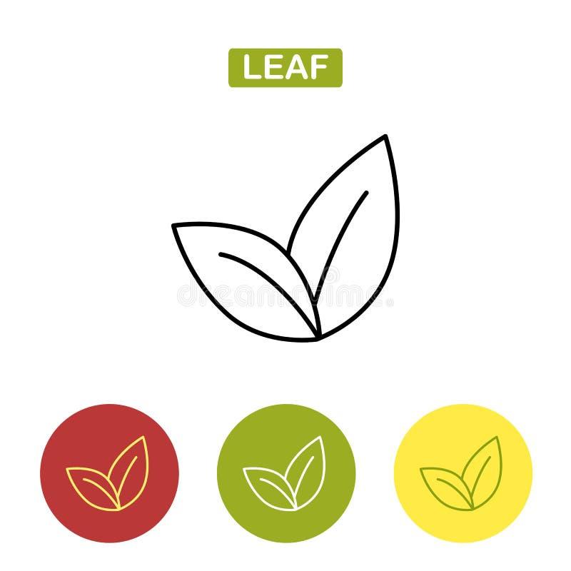 Feuilles de thé Ligne mince icône de feuille Illustration de vecteur d'isolement sur le fond blanc illustration stock