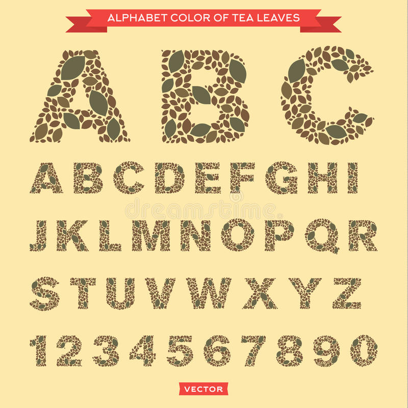 Feuilles de thé sous forme de lettres et de nombres illustration de vecteur
