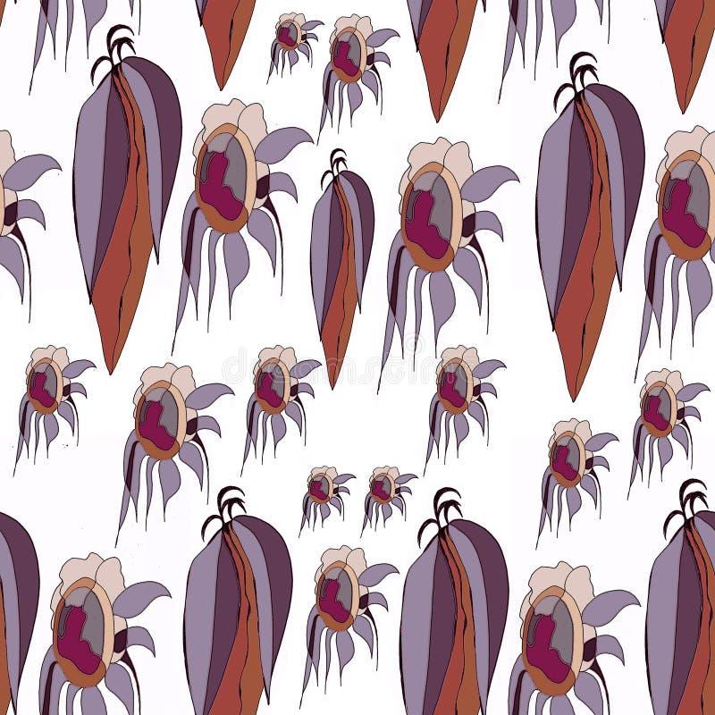 Feuilles de vecteur et tournesols, fond blanc gris, bleu, gris-clair, brun, simple illustration de vecteur