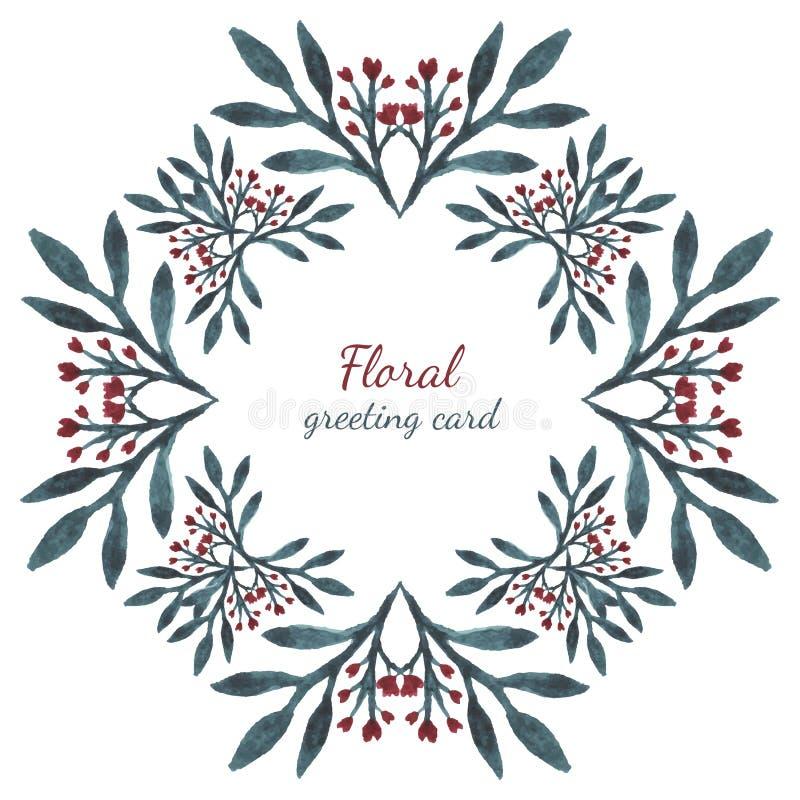 Feuilles et coeurs floraux de fleurs aquarelle de dessin de cadre de vecteur concevez pour des - Dessin invitation ...
