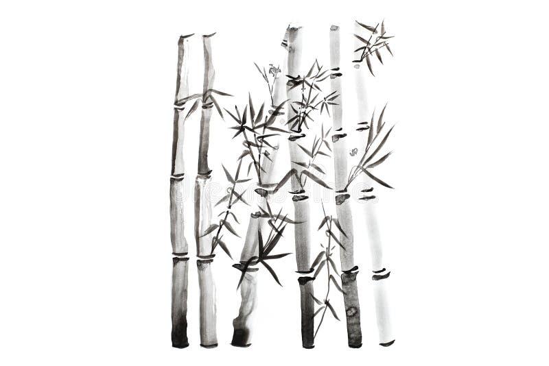 Feuilles et ensemble en bambou tirés par la main de branche, peinture d'encre Peinture calligraphique sèche traditionnelle de bro images libres de droits