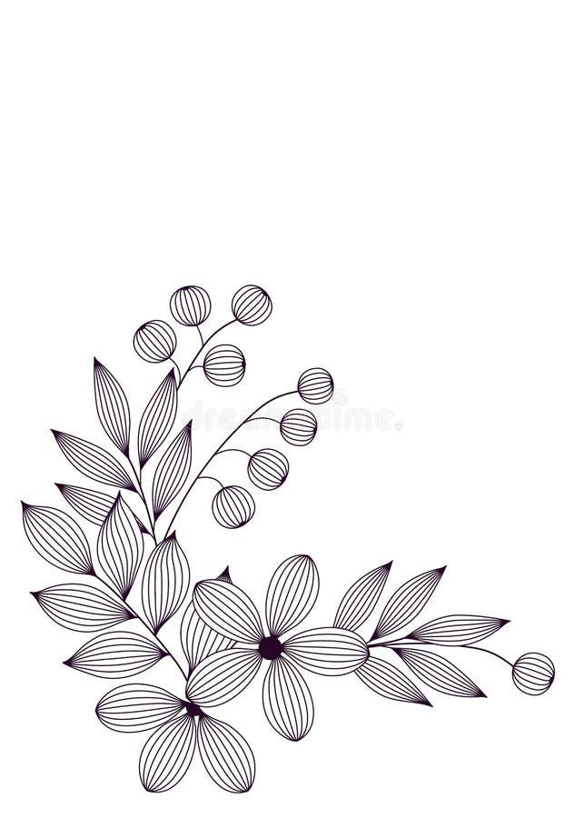 Feuilles et fleurs élégantes noires et blanches avec le calibre floral de carte de veines, vecteur illustration libre de droits