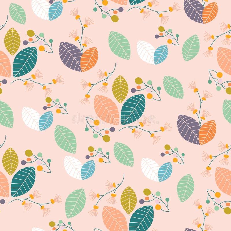 Feuilles et fleurs color?es, dans une conception sans couture de mod?le illustration stock