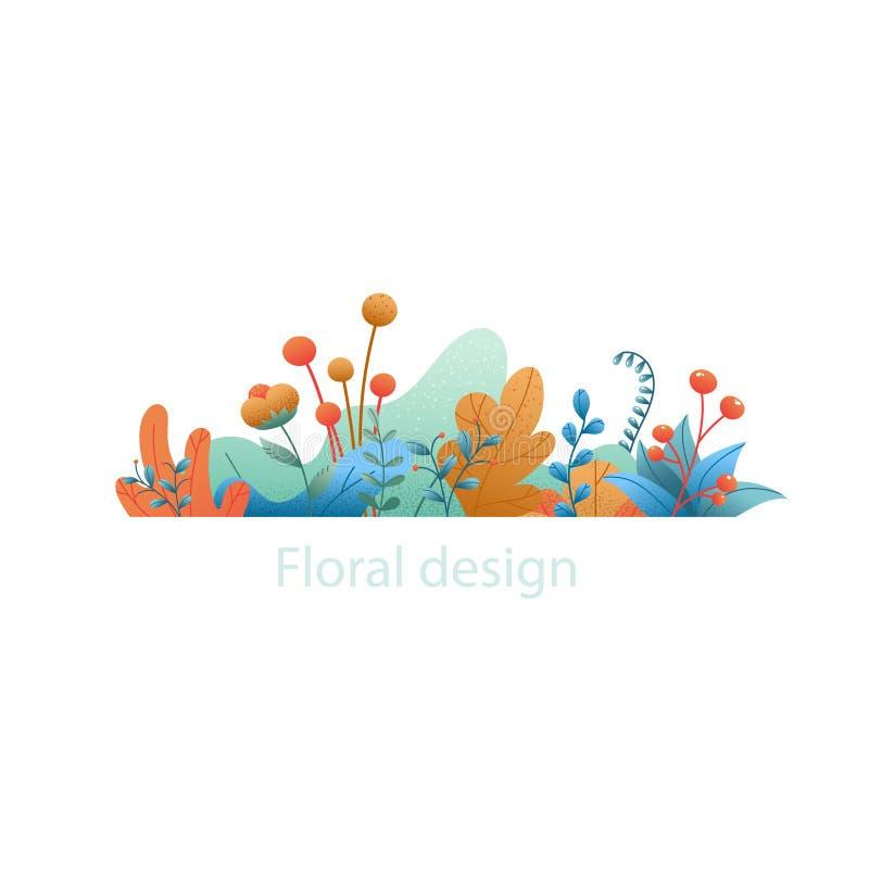 Feuilles et fleurs d'usine Bannière naturelle abstraite d'isolement sur le wh illustration stock