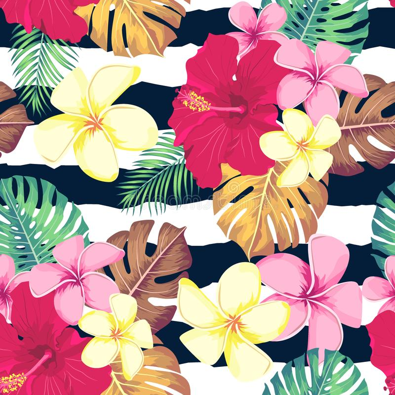 Feuilles et fleurs exotiques sur l'ornement géométrique Configuration tropicale sans joint Fond de vecteur illustration stock