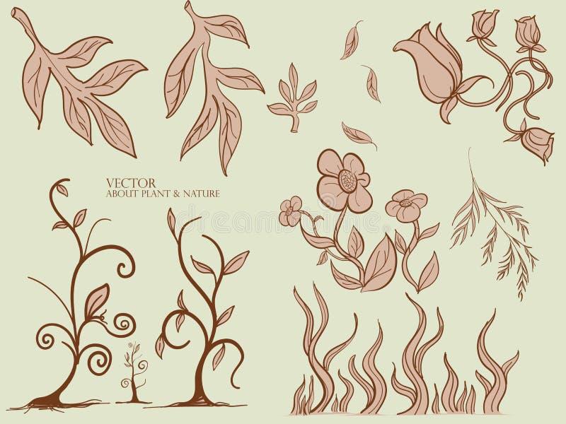 Feuilles et modèle sans couture d'usine , Usine de henné , Feuille de vecteur, fond floral illustration libre de droits