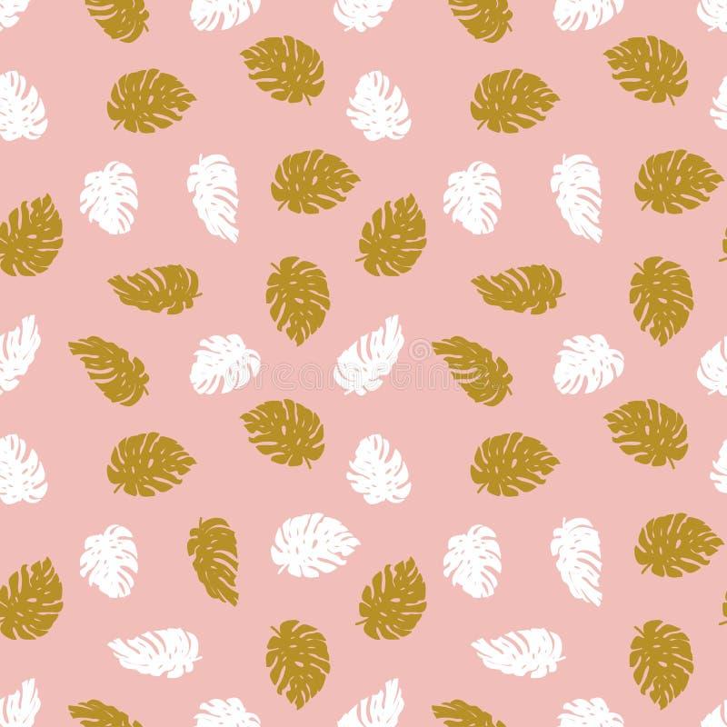 Feuilles exotiques d'or et de blanc sur le fond rose Modèle tropical tiré par la main sans couture illustration libre de droits