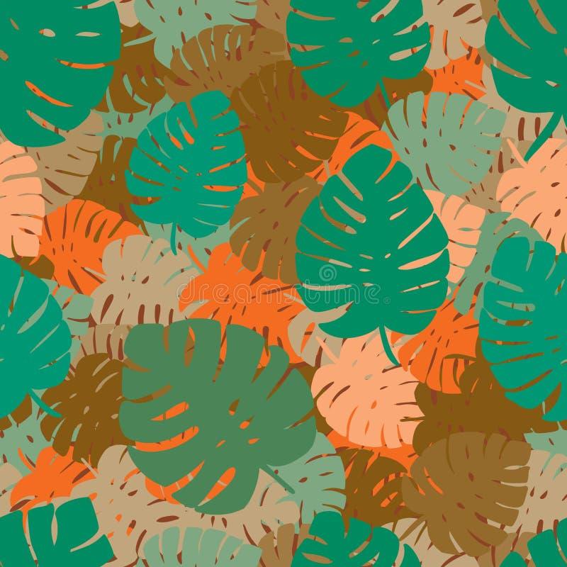 Feuilles exotiques, forêt tropicale sans couture, modèle d'aspiration de main Fond de vecteur illustration de vecteur
