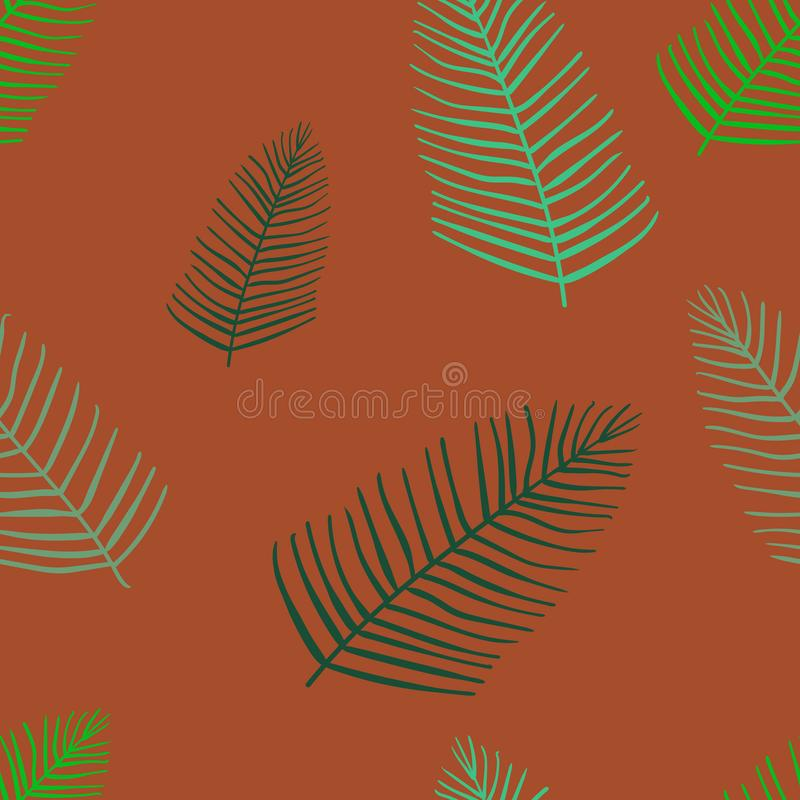 Feuilles exotiques, forêt tropicale sans couture, modèle d'aspiration de main Fond de vecteur illustration stock
