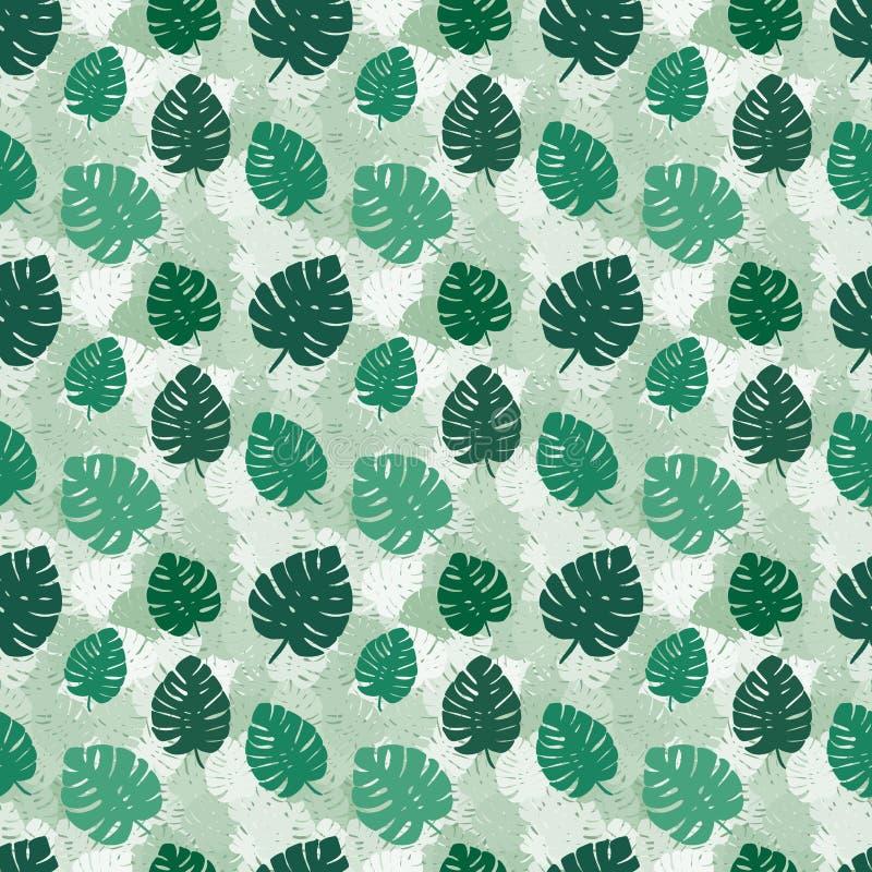 Feuilles exotiques, forêt tropicale sans couture, modèle d'aspiration de main Fond de vecteur illustration libre de droits
