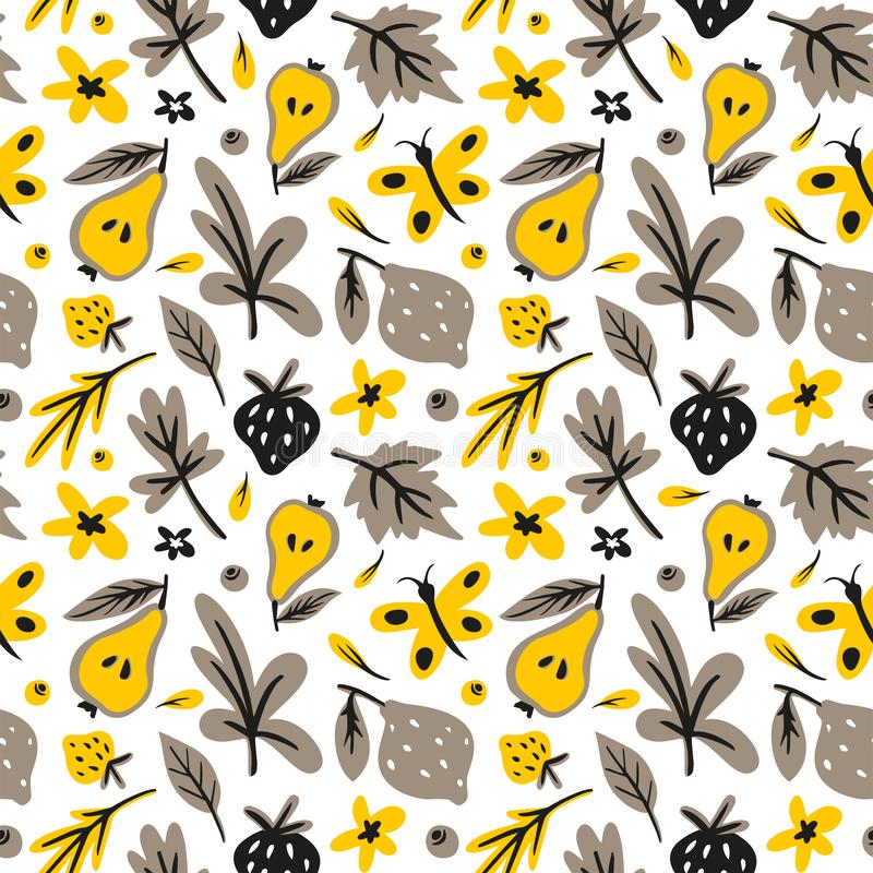 Feuilles, fleurs, berrys, modèle sans couture tiré par la main plat de fruits Griffonnage et texture de bande dessinée illustration de vecteur