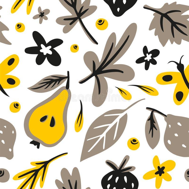 Feuilles, fleurs, berrys, modèle sans couture tiré par la main plat de fruits Griffonnage et texture de bande dessinée illustration libre de droits