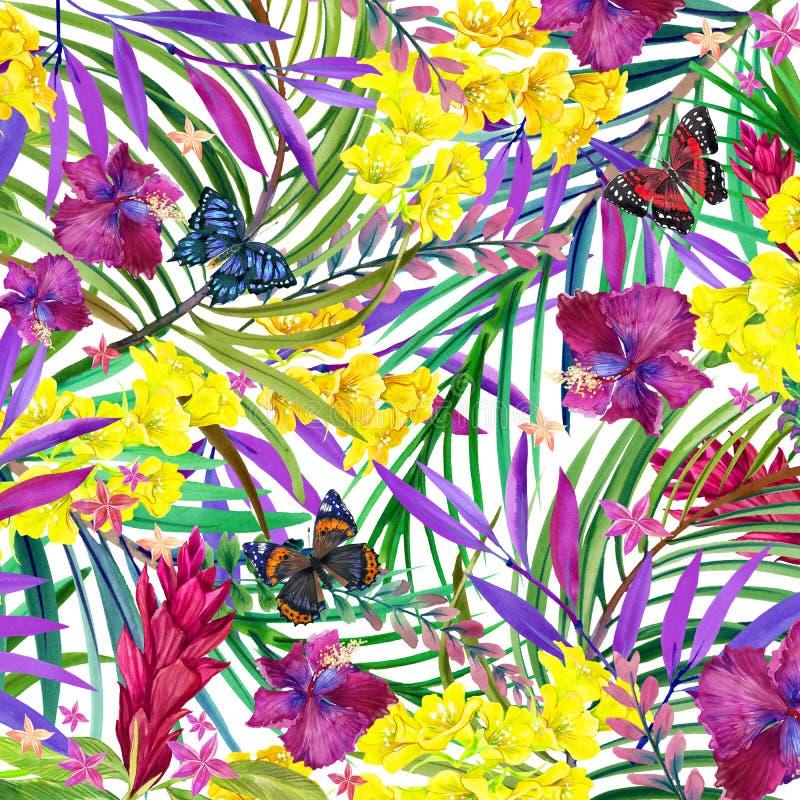 Feuilles, fleurs et papillon tropicaux illustration de vecteur