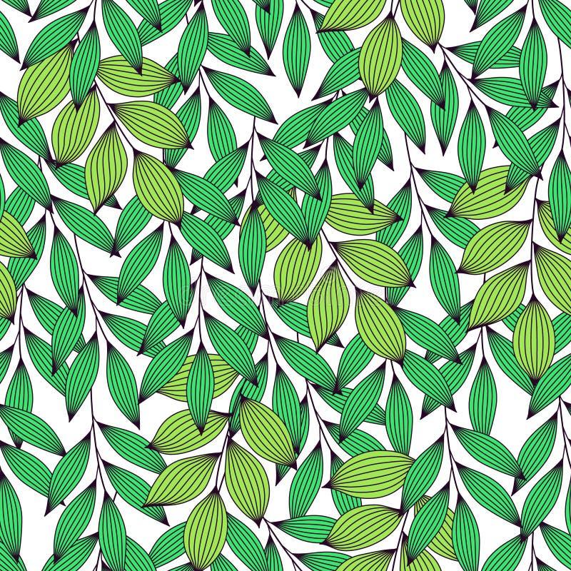 Feuilles fraîches vertes vibrantes avec des veines modèle sans couture, vecteur illustration stock