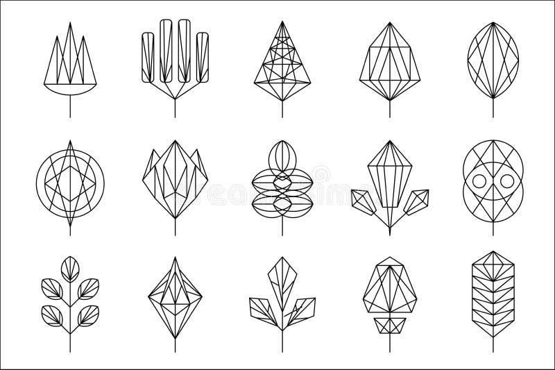 Feuilles géométriques des arbres grand ensemble, collection d'éléments de conception graphique, illustration de vecteur de si illustration de vecteur