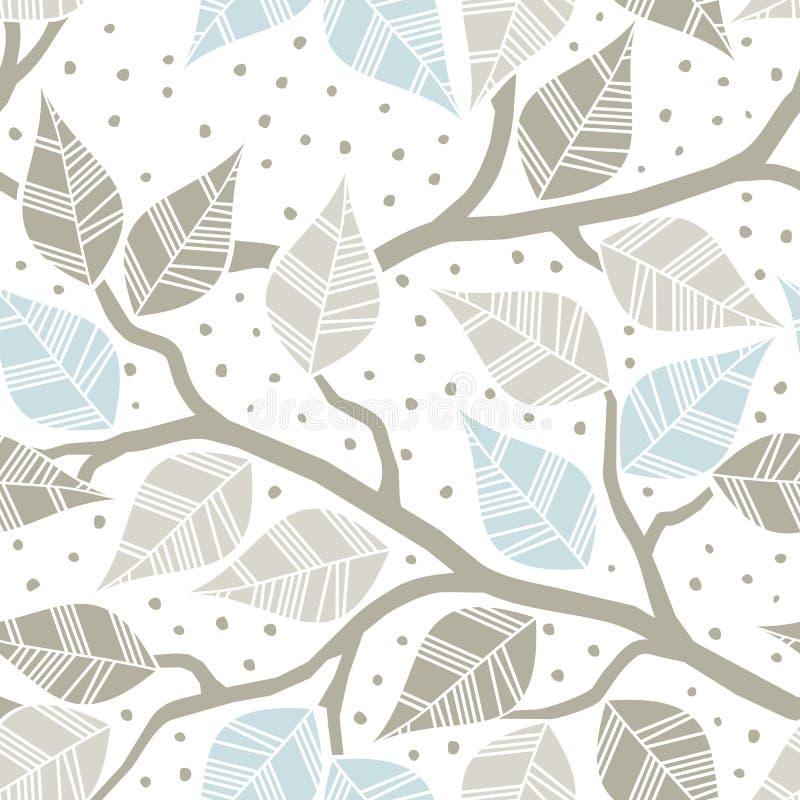 Feuilles grises beiges de bleu sur des branches illustration de vecteur