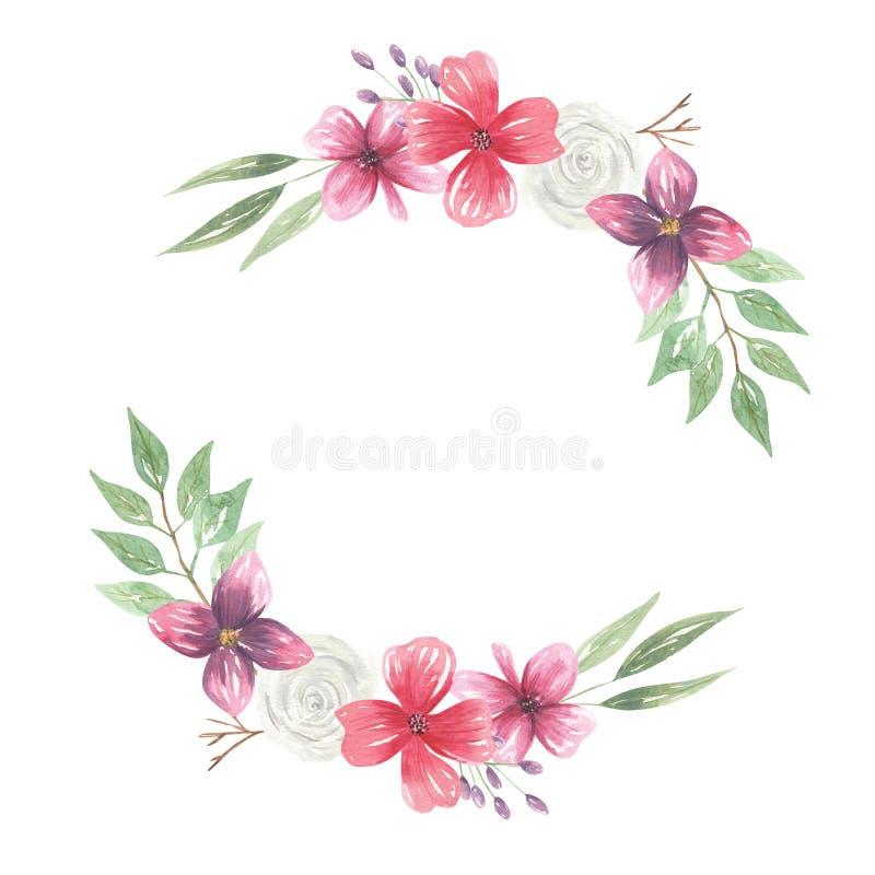 Feuilles pourpres Garland Mix de baies de guirlande de voûte d'aquarelle de fleurs de Bohème de plumes illustration de vecteur