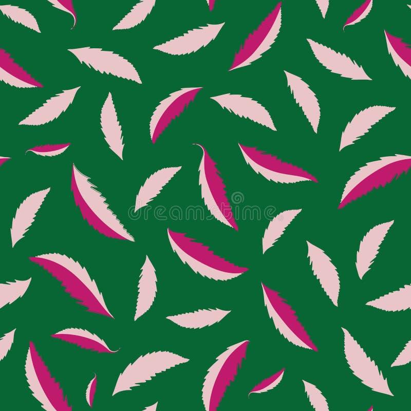 Feuilles roses tirées par la main de chute libre sur le fond vert-foncé Modèle sans couture frais contrasté de vecteur Perfection illustration de vecteur