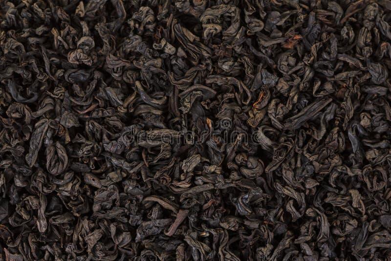 Feuilles sèches de thé noir Macro, fond photo libre de droits
