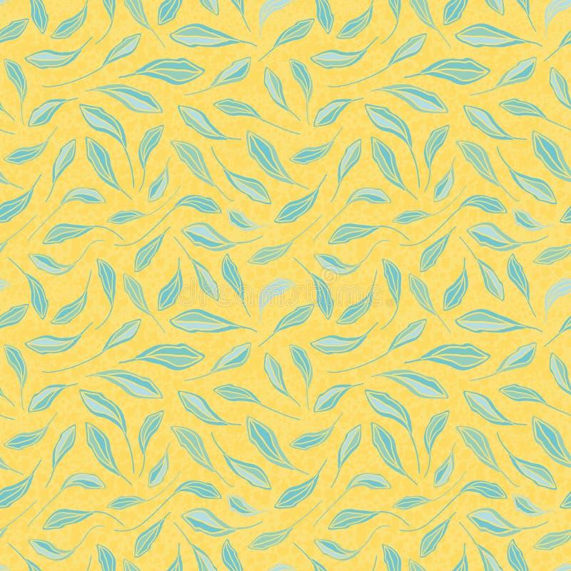 Feuilles tirées par la main bleu-clair sur le fond jaune texturisé Modèle sans couture de répétition de vecteur avec le vibe frai illustration de vecteur