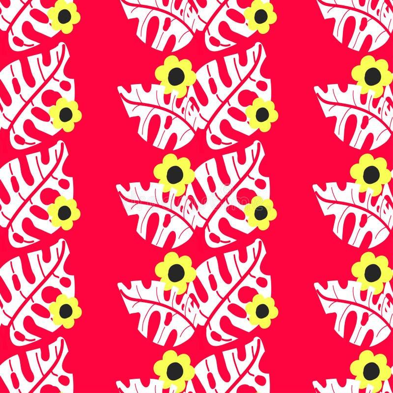 Feuilles tropicales blanches avec les fleurs jaunes illustration stock