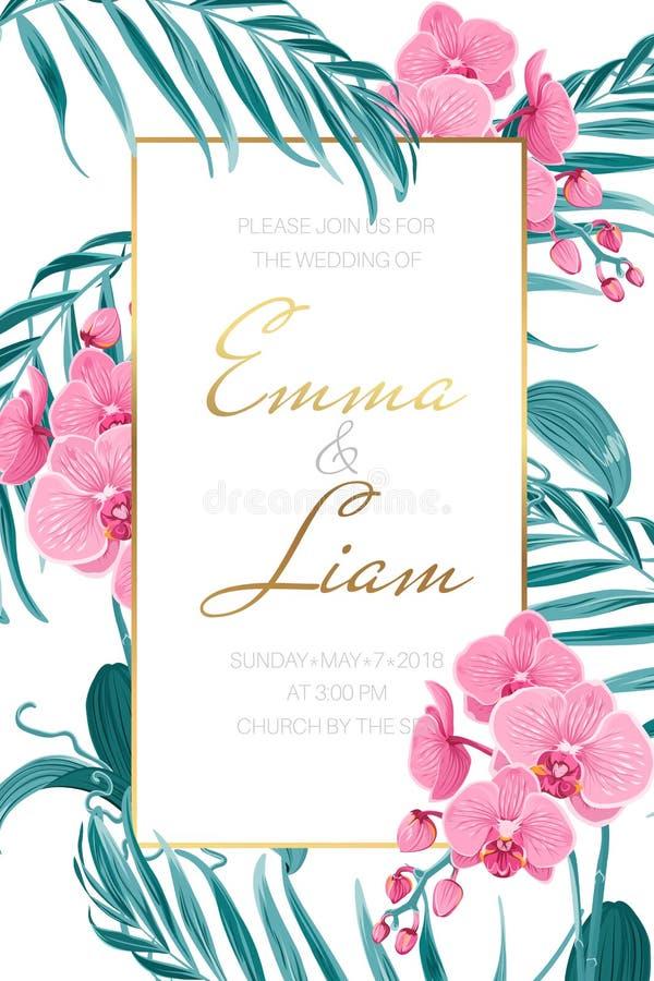 Feuilles tropicales d'orchidée de calibre d'invitation de mariage illustration libre de droits
