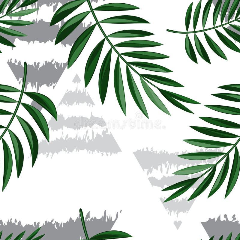 Feuilles tropicales vert clair et triangles grises sur un fond clair Fond sans couture de modèle Vecteur eps10 illustration de vecteur