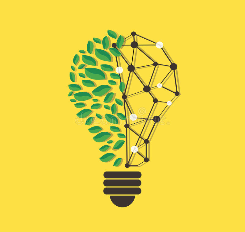 Feuilles vertes dans la forme et la ligne vecteur, concept d'eco de nature, jour d'ampoule de technologie d'environnement du mond illustration libre de droits