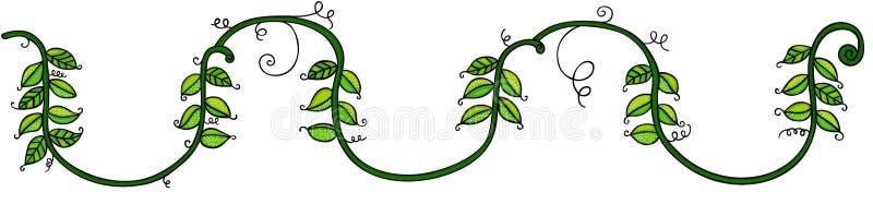 Feuilles vertes sur la corde illustration de vecteur