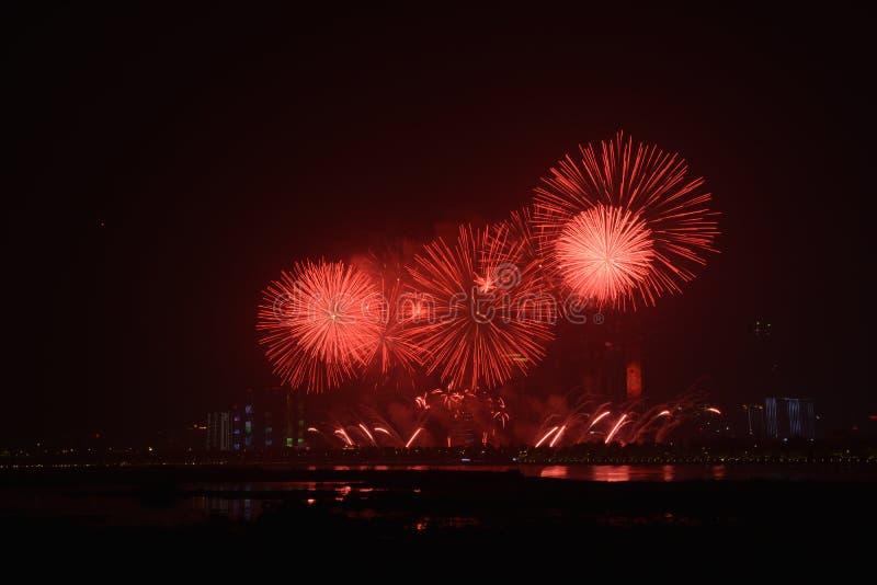 Feux d'artifice à Tchang-cha Hunan Chine photographie stock libre de droits