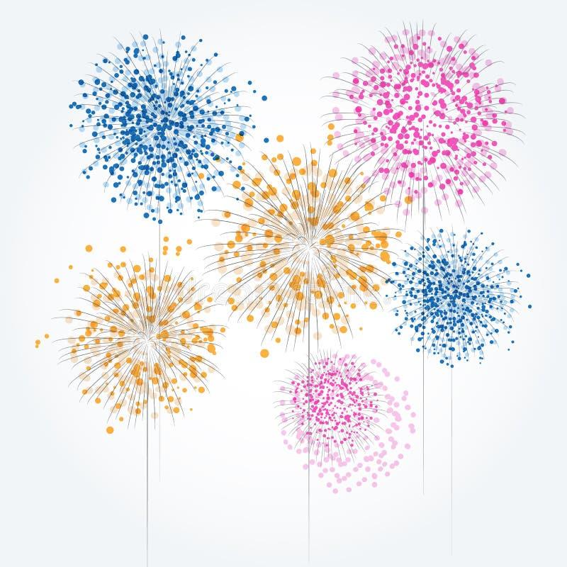 Feux d'artifice abstraits de couleur avec susciter les cercles colorés illustration stock