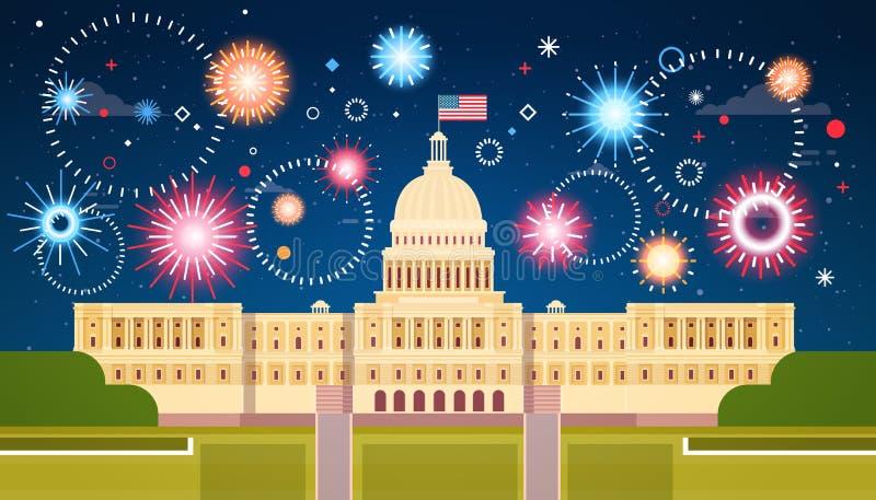 Feux d'artifice au-dessus de la Maison Blanche, Etats-Unis Jour de la Déclaration d'Indépendance vacances concept du 4 juillet illustration stock