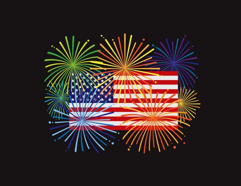 Feux d'artifice au-dessus d'illustration de la BG de noir de drapeau américain des Etats-Unis illustration libre de droits