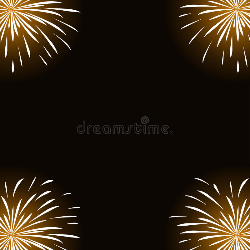Feux d'artifice blancs sur le fond noir illustration stock