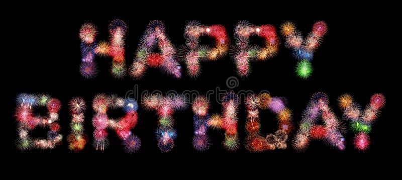 Feux d'artifice colorés des textes de joyeux anniversaire illustration de vecteur