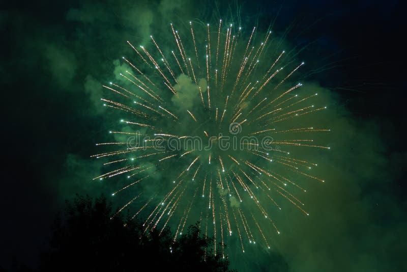 Feux d'artifice colorés sur le 4ème juillet photographie stock