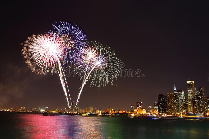 Feux d'artifice d'été de Chicago photographie stock
