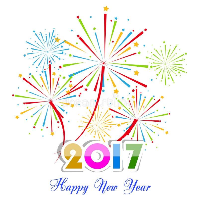 Feux d'artifice de bonne année conception de fond de 2017 vacances illustration de vecteur