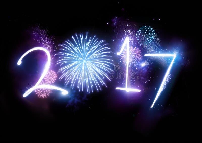 feux d'artifice de 2017 bonnes années illustration de vecteur