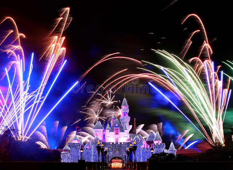 Feux d'artifice de Disneyland photos libres de droits