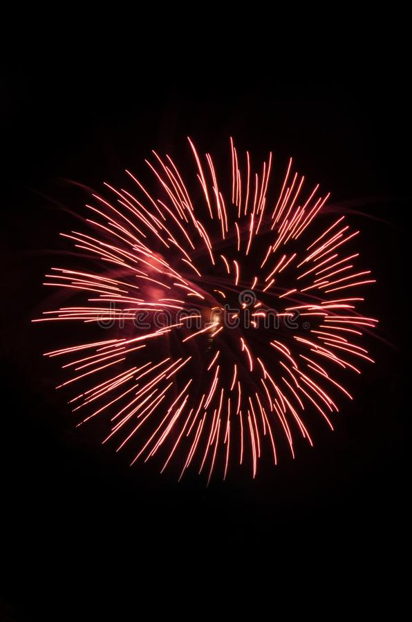 Feux d'artifice de explosion dans le ciel nocturne photographie stock libre de droits